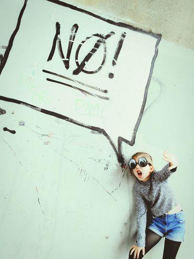 Just say No One Person People Portrait Children Only Day Close-up Graffiti Wall Graffiti Art Graffiti Art Comic Speech Bubble No! Girl Eyes Silly Glasses Glasses Eyewear Cool Surprise The Week On EyeEm