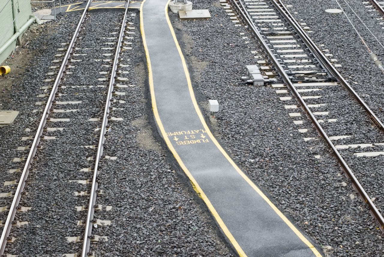 looking down of railway tracks and ballast Footpath High Angle View Iron Road LINE Looking Down Rail Lines Railway Tracks Train Trackes View Walkway