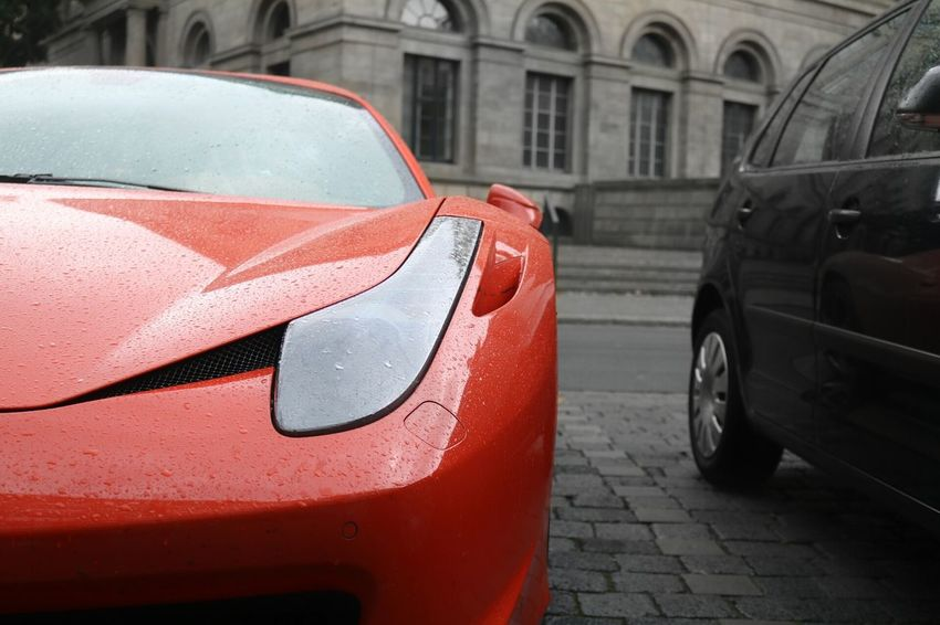 Ferrari 458 Italia Red Street Car City Day Outdoors City Life Red Color Focus On Foreground Roadside Photo Photography Photographer History City Luxurylifestyle  Cars Luxury Yolo Vehicle Modern Red Ferrari458Italia Ferrari Journey