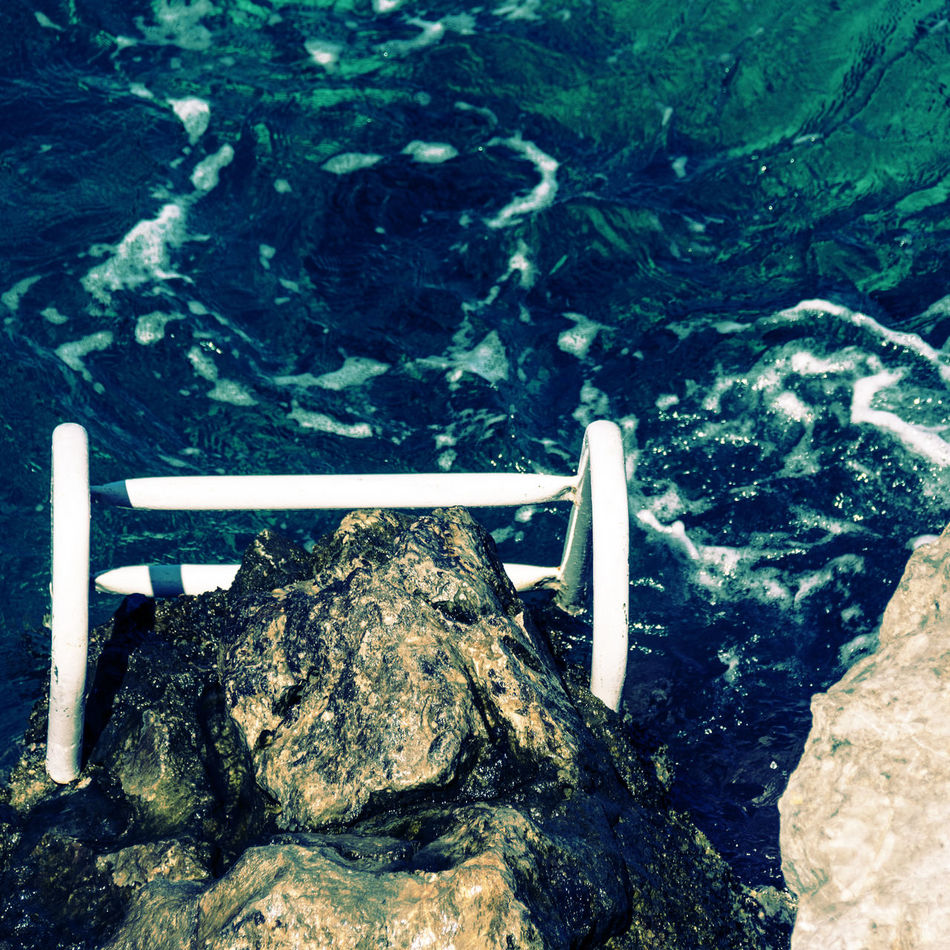 ocean pool Close-up Flowing Greece Green Color Lush Foliage Mediterranean Sea Ocean Outdoors Overhead View Rippled River Rock - Object Sea Shore Stair Tranquil Scene Tranquility Water Water Surface Water's Edge Ýdra, Greece