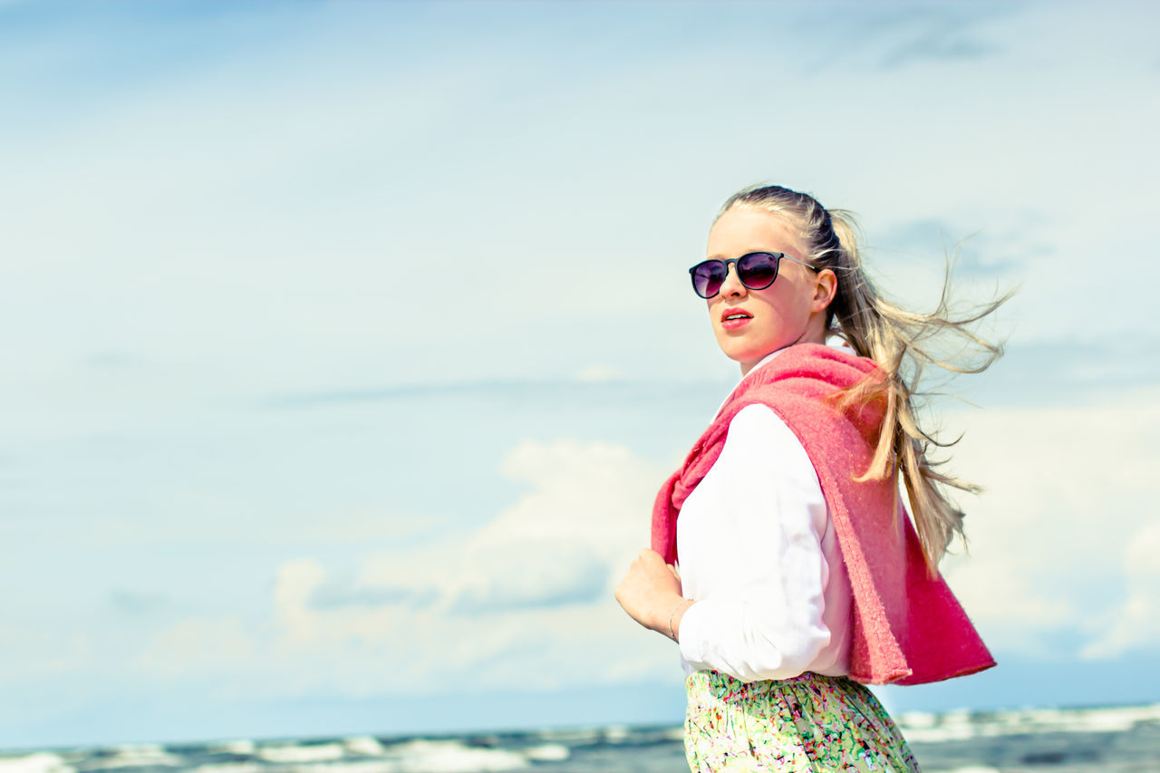 Baltic Sea Beach Beautiful Girl Blond Hair Confidence  Day Human Body Part Nature One Person Outdoors Portrait Sea Sky Summer Sunglasses Windy Day