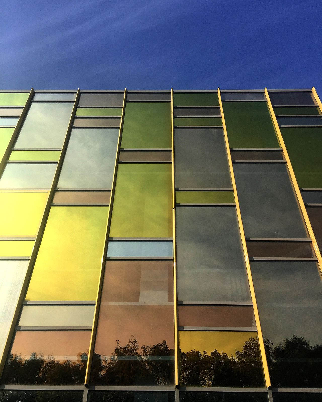 Architecture Low Angle View Built Structure Building Exterior Window Modern Geometric Shape Sky Office Building Blue Skyscraper Outdoors Building Story Full Frame Multi Colored No People