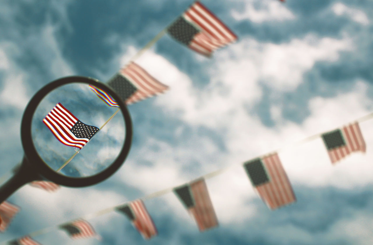 Beautiful stock photos of flaggen, American Flag, Circle, Cloud - Sky, Day