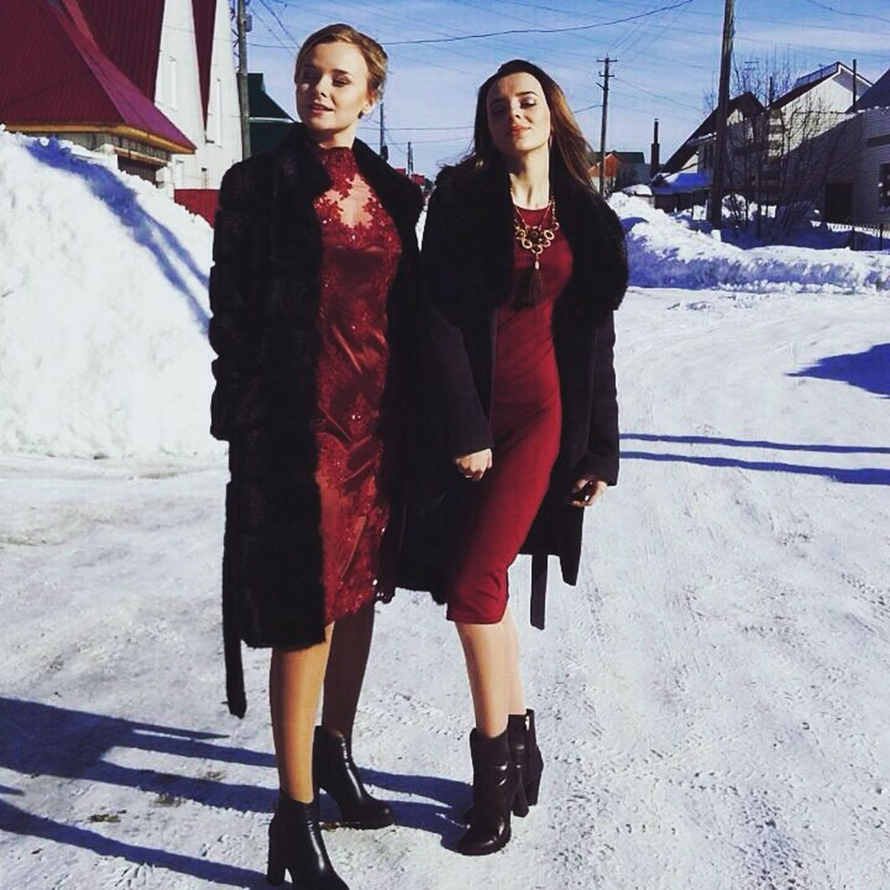 Beauty Women Two People Young Women Snow