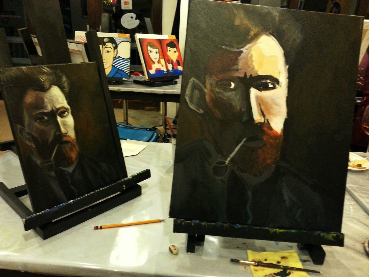 My first painting. Van Gogh. #amatuer #canvass #Dark #horizon #interests #oil #oilpainting #portrait #vangogh