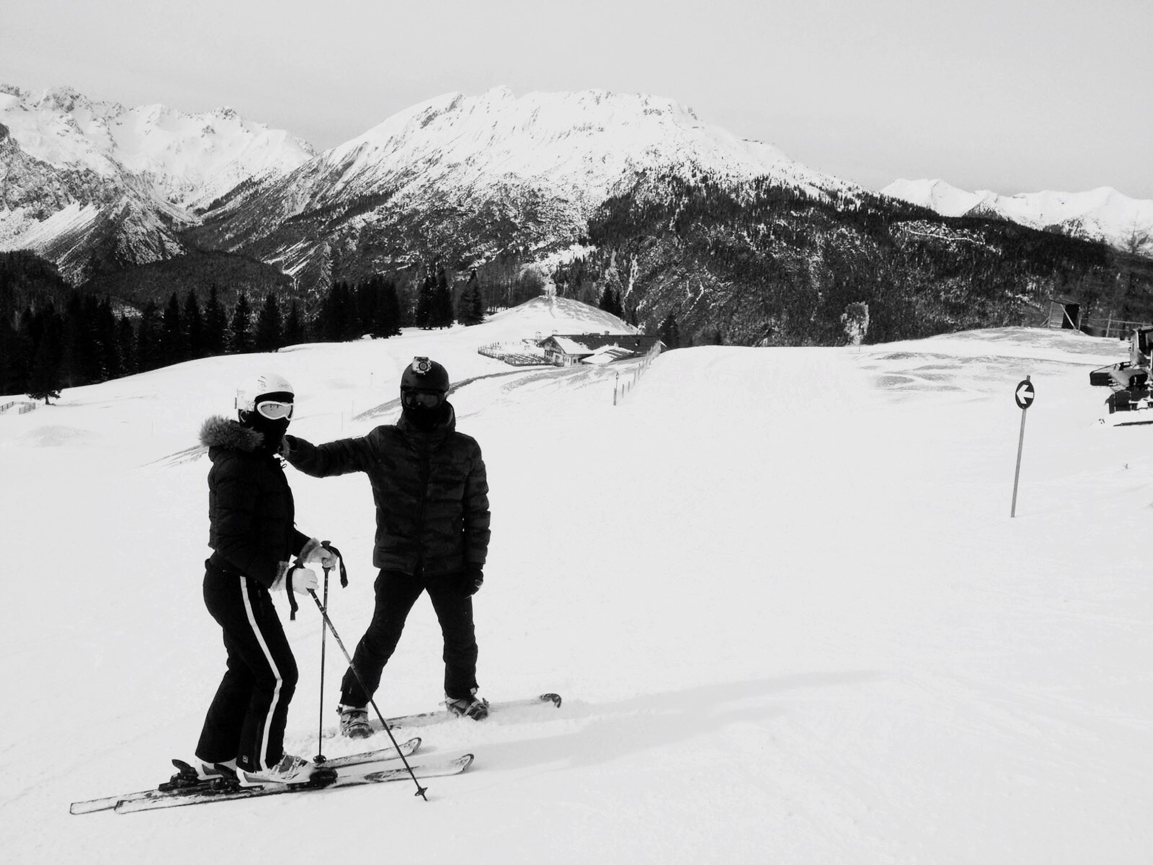 snow, winter, cold temperature, mountain, season, leisure activity, lifestyles, weather, full length, warm clothing, men, landscape, mountain range, snowcapped mountain, skiing, adventure, nature, rear view, hiking