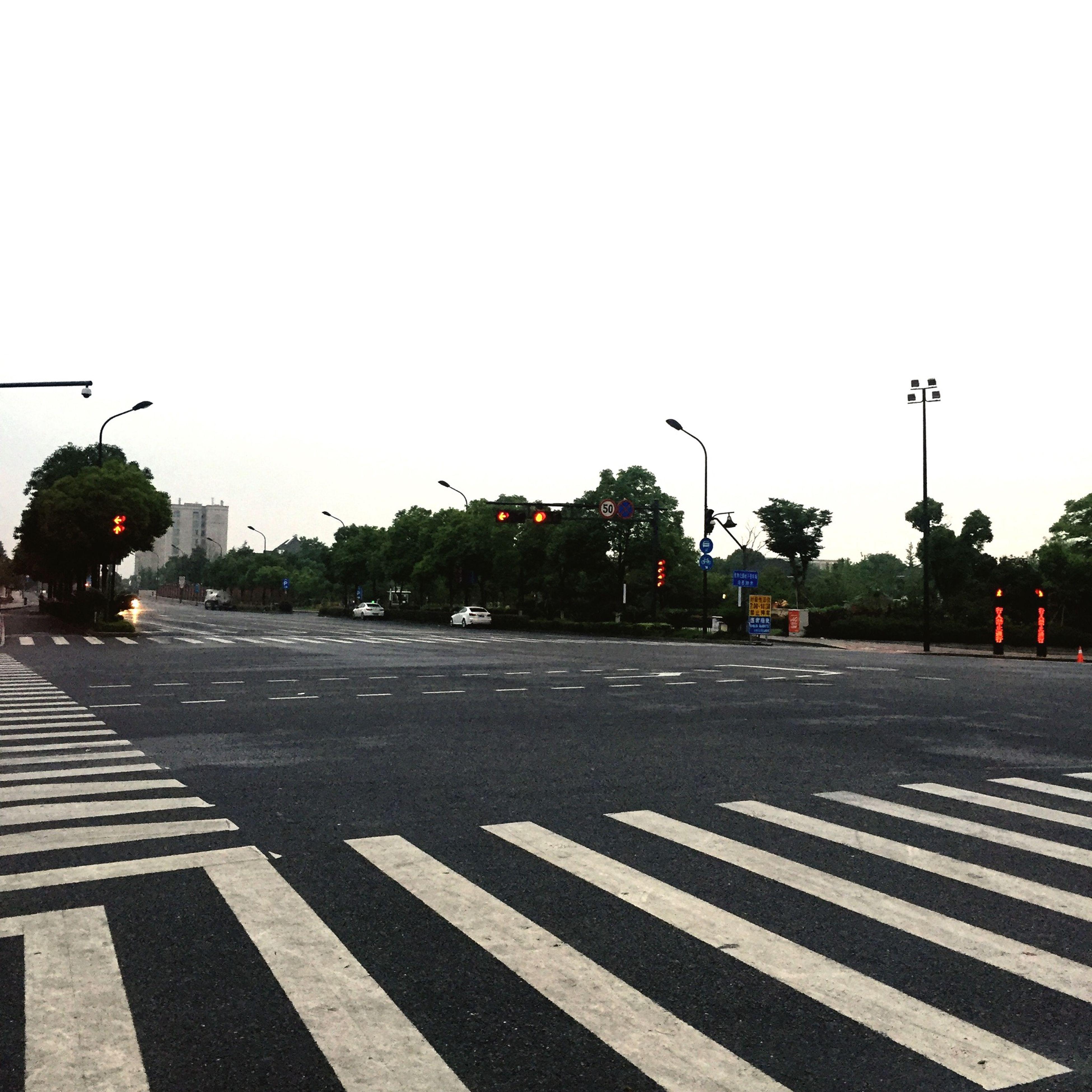 road marking, transportation, road, street, clear sky, car, the way forward, street light, land vehicle, road sign, mode of transport, city, zebra crossing, building exterior, city street, asphalt, arrow symbol, guidance, tree, built structure