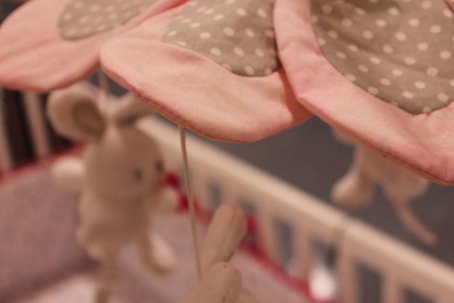 Baby Bedtime Bunny  Crib Flowers Girl Hanging Around Hanging Out Infant Newborn Pink Polkadots RockaByeBaby Sleeping Sleepy Sweet