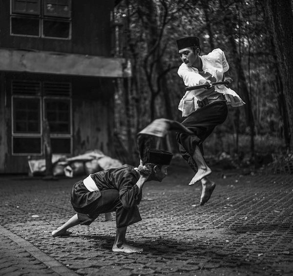 High Breathing Space Martial Arts Motion Outdoors Pencak Silat People Streetphotography Two People