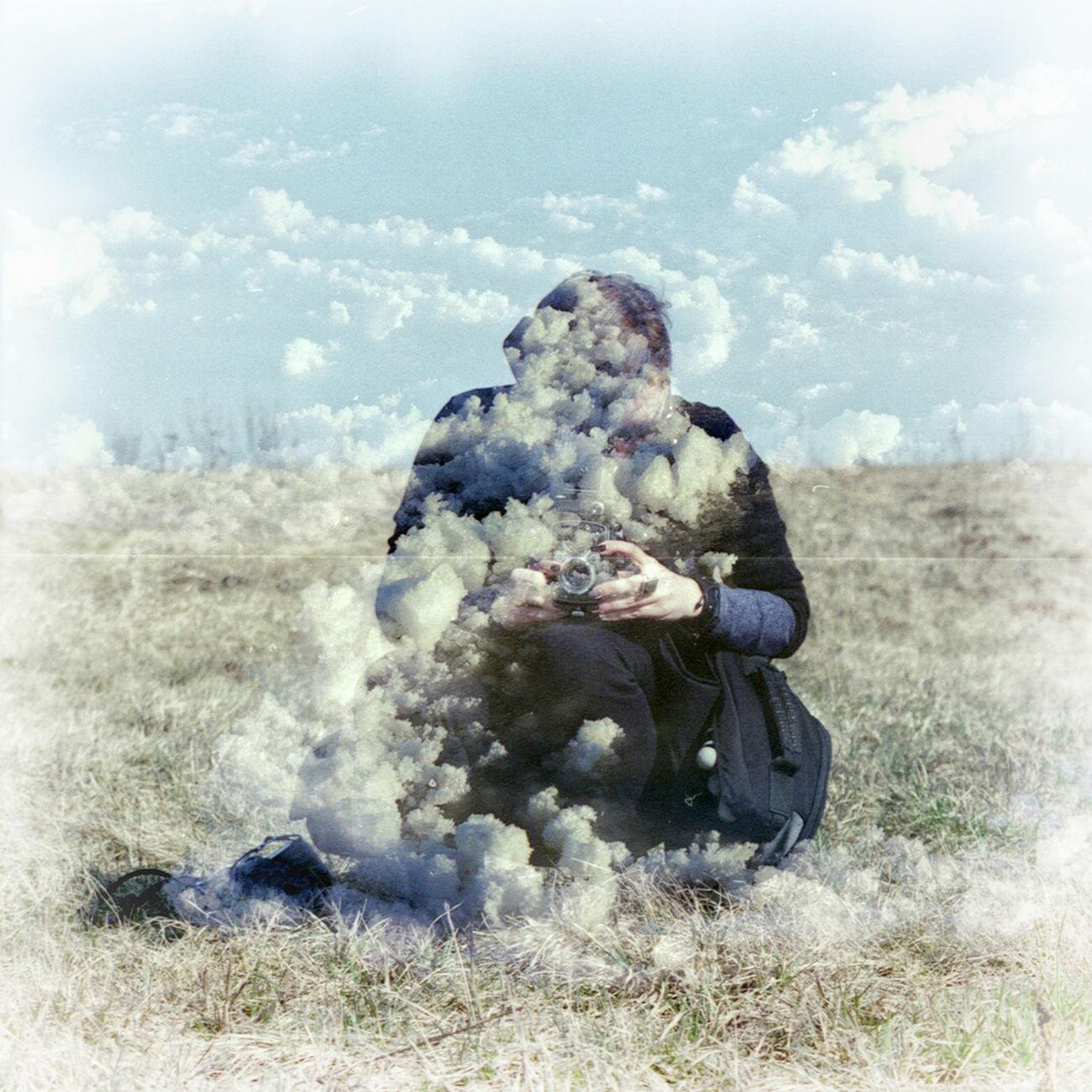 FilmSwap: Cloud Sheperd (film swap with Gintarė Vilcinytė) Film Swap Analogue Photography Double Exposure Photographer Clouds Lithuania Multiexposure  Surreal