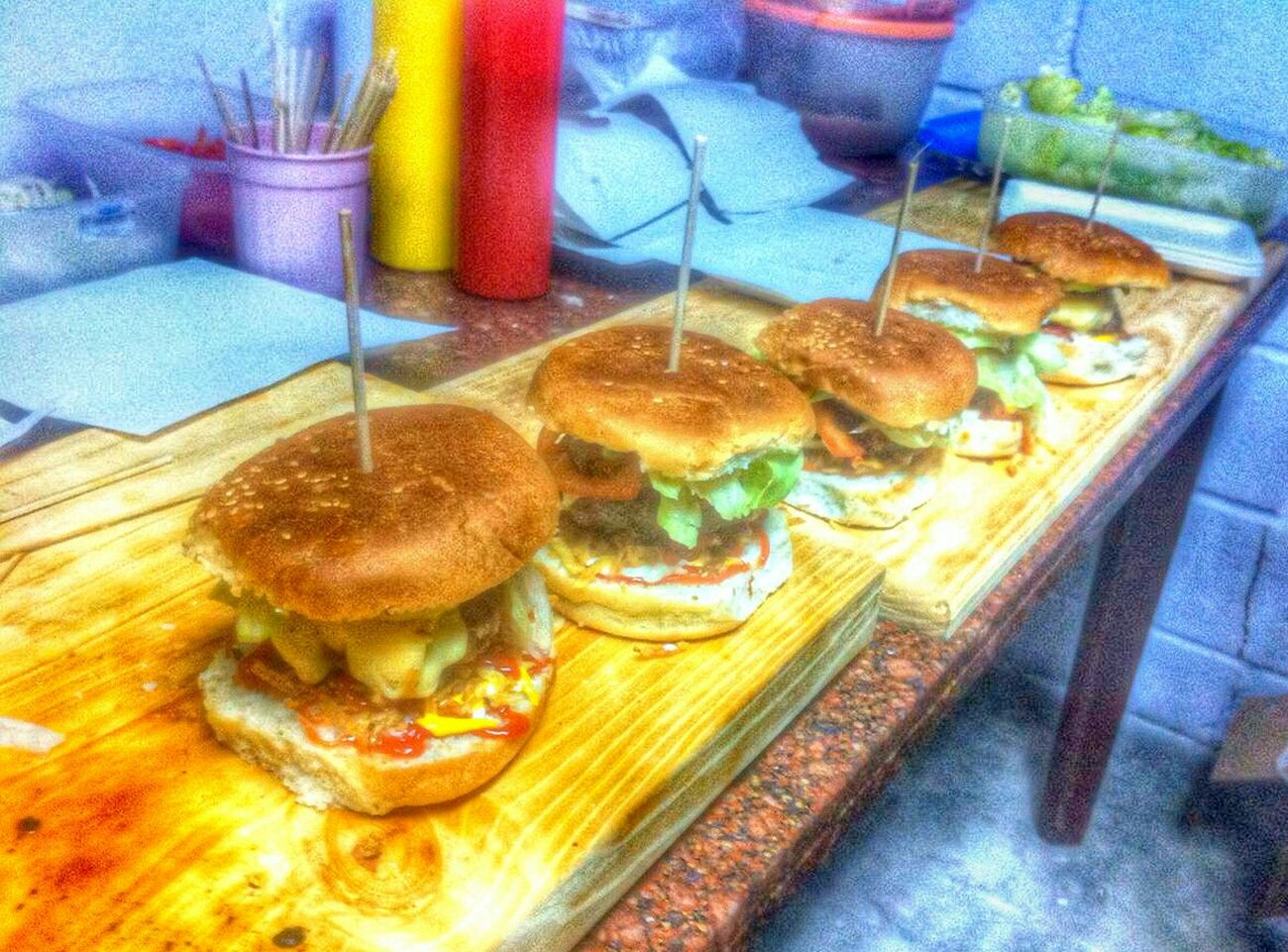 🍔 Food Burguer Burguers Indoors  No People Sweet Food Freshness Indulgence Multi Colored Variation Food And Drink Table Temptation Close-up Ready-to-eat Day EyeEm The Week Of Eyeem Photography Amazing EyeEmBestPics EyeEm Best Shots Maximum Closeness Focusing Blur