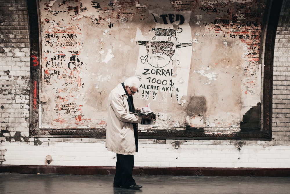 Adult Billboard City Life Communication Drawing - Activity Grandpa Holding Metro Station Only Men Snap a Stranger Standing Text Zorro Art Is Everywhere The Street Photographer - 2017 EyeEm Awards