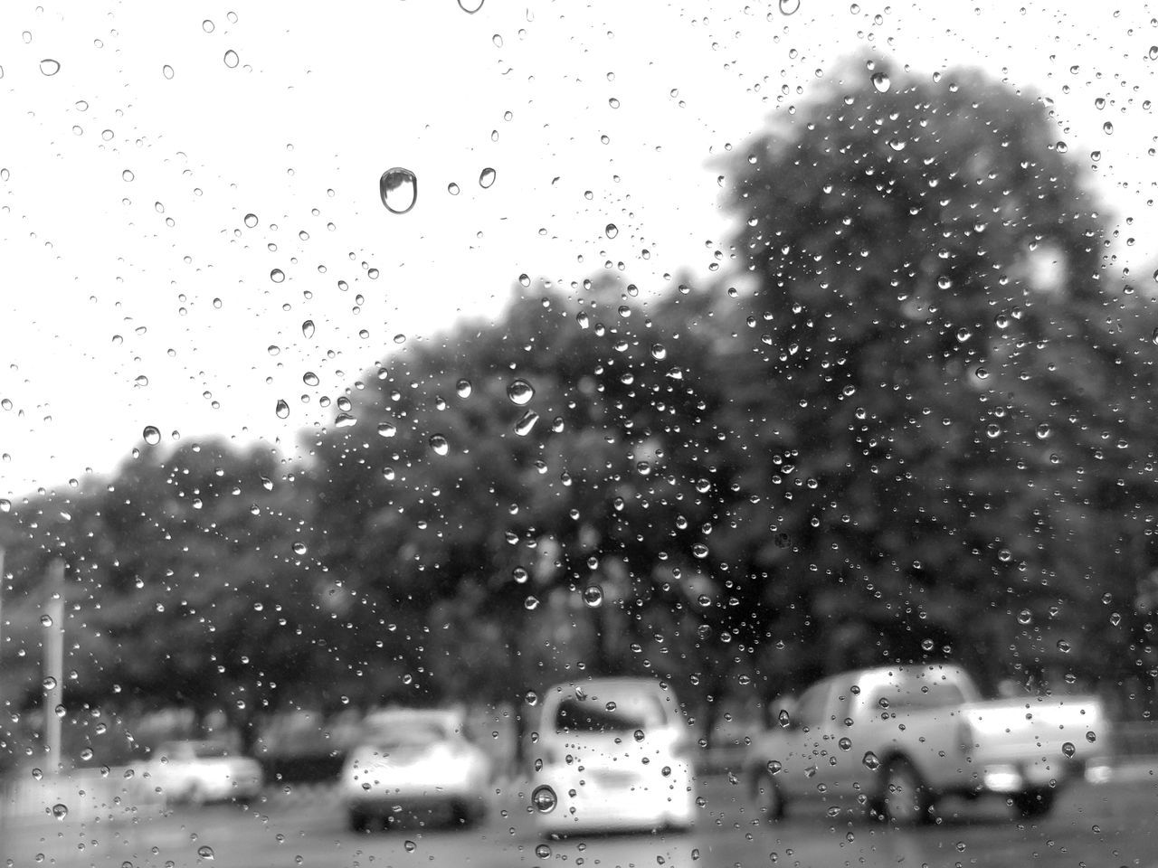 land vehicle, car, transportation, drop, mode of transport, glass - material, rain, street, wet, road, travel, window, raindrop, sky, looking through window, day, city, outdoors, water, no people, nature, architecture