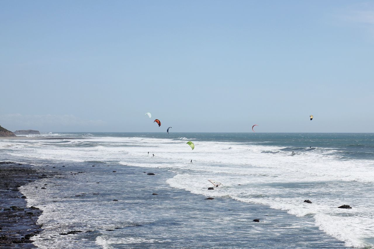 Sea Water Sky Nature Scenics Aquatic Sport Beach Day Outdoors Sport Beauty In Nature Wave Horizon Over Water Vacations Kiteboarding Windsurfing Adventure Airshow No People Water Sports Sports Photography Sports Adventure Club Ocean View Coastline