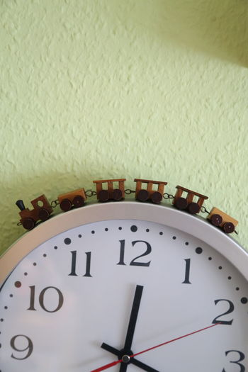 Alarm Clock Clock Clock Face Close-up Indoors  No People Time Time Train Toy Wooden Toy Wooden Train