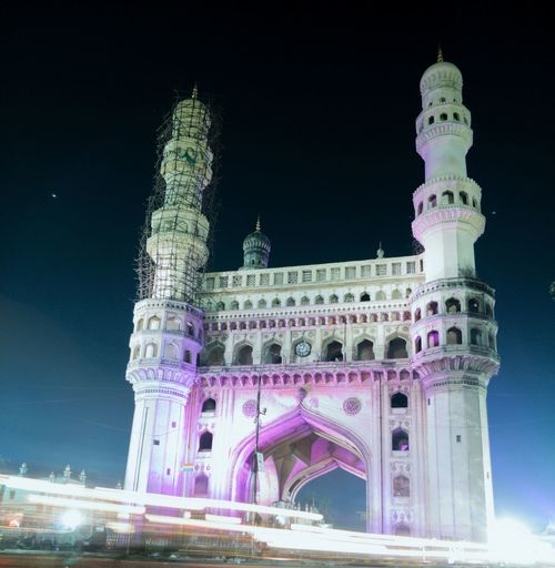 Charminar The Pride Of Hyderabad Night Architecture History City Built Structure Outdoors No People Sky Cityscape