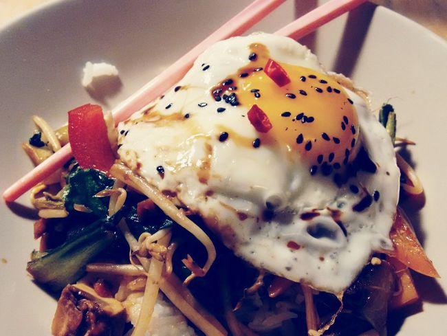 Egg-pocalyptic. Food Hungry Dinner! Chopsticks Asian Food Veggiedinner Vegetarian EyeEm Gallery Chilis Food Porn