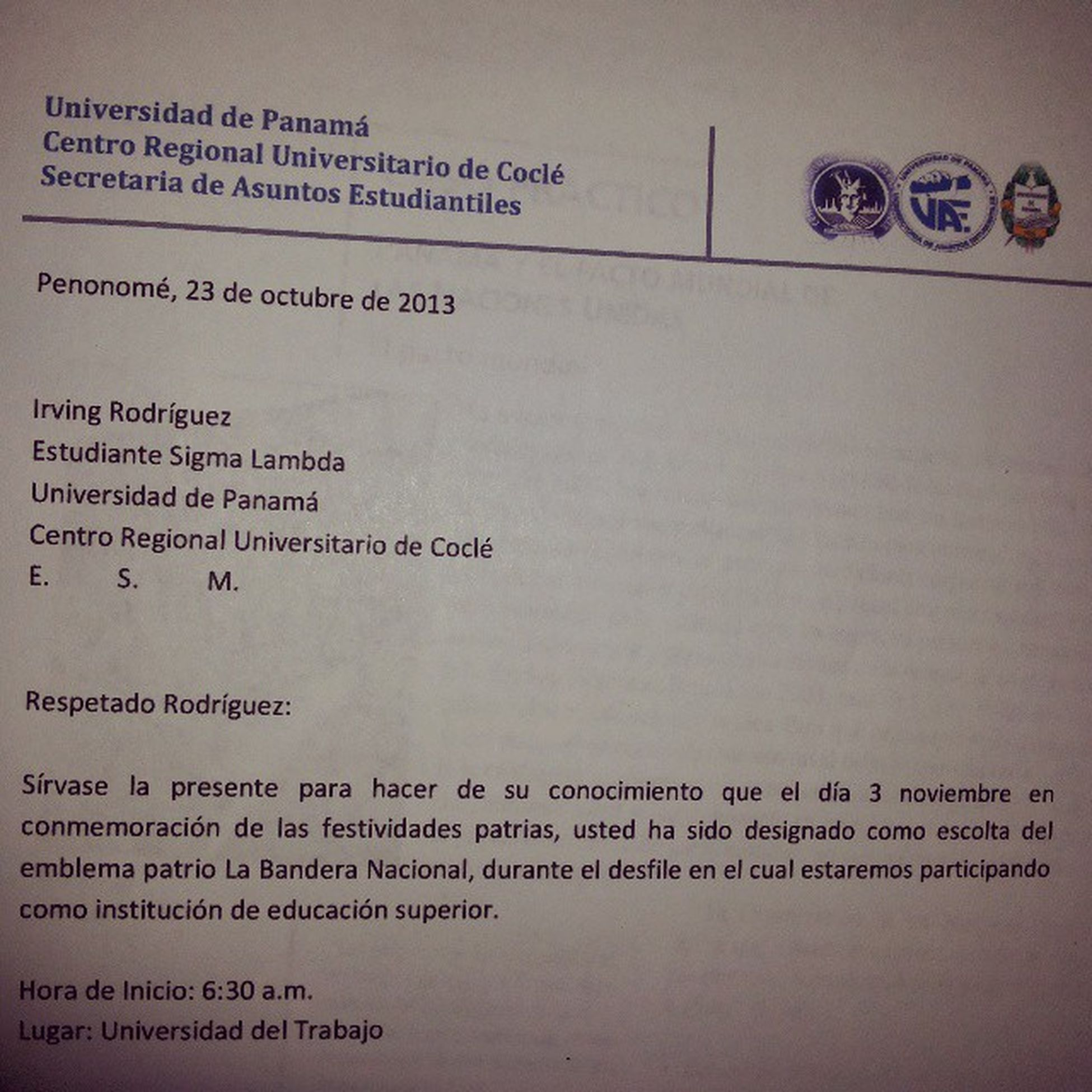 CapituloDeHonor SigmaLambda Designacion 3DeNov Escolta Panama UP