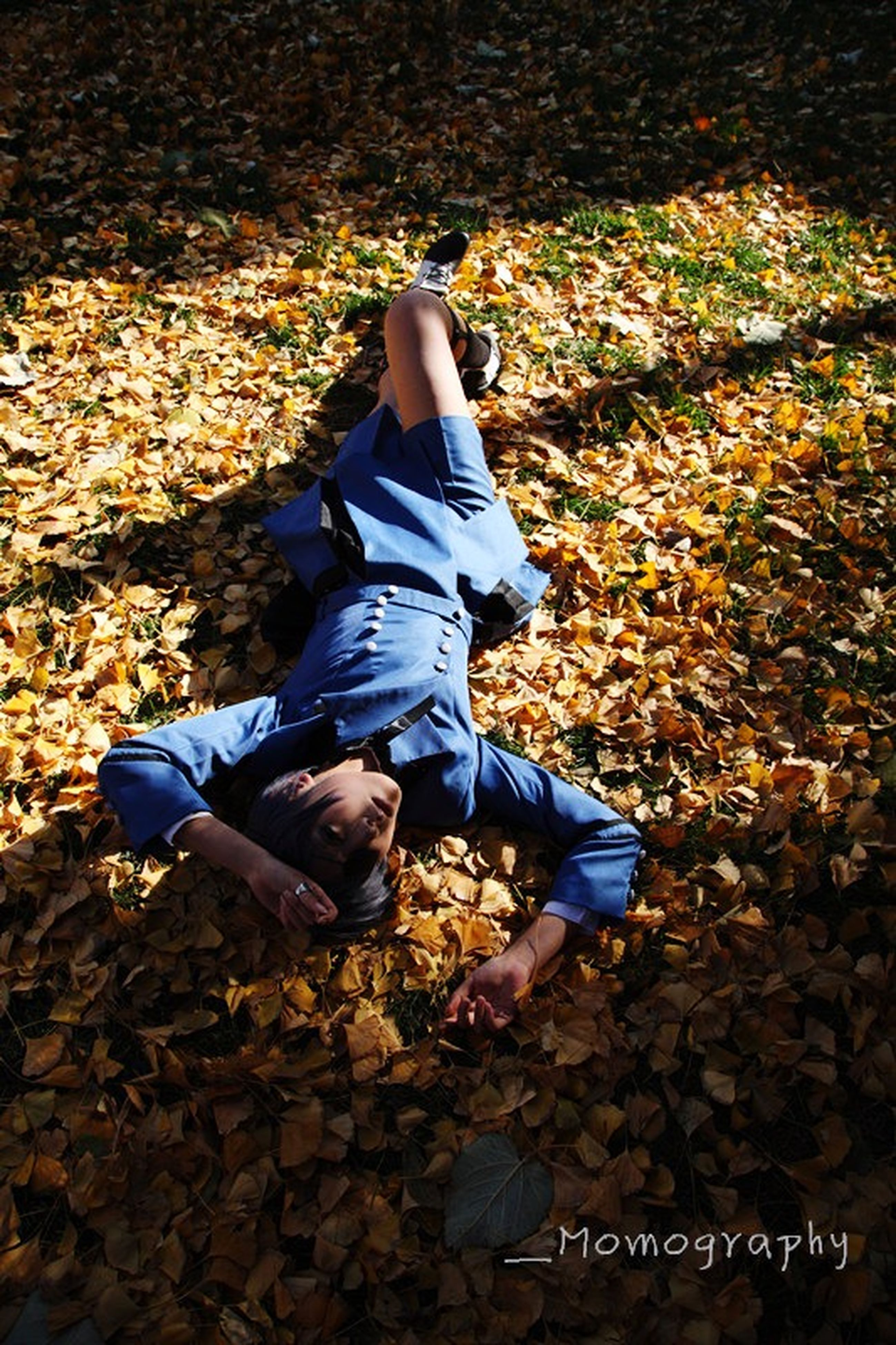 lifestyles, autumn, leisure activity, casual clothing, childhood, leaf, full length, field, change, high angle view, season, elementary age, leaves, standing, person, dry, day, outdoors