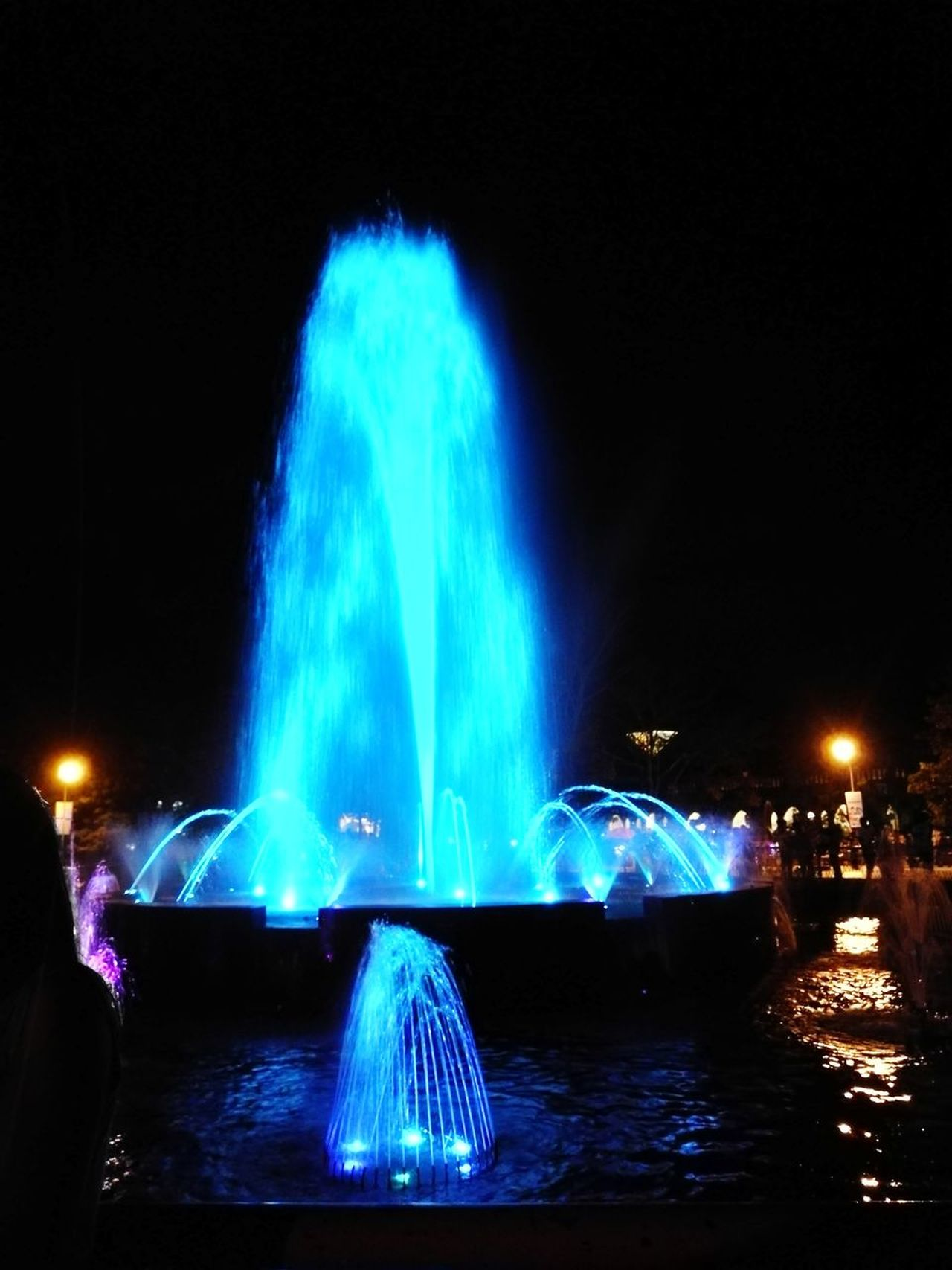Water Motion Outdoors Night First Eyeem Photo Fountain Fun Blue Water Peaceful Moment IloveIT ♡ Lifes Good Amazed Long Exposure Arts Culture And Entertainment Illuminated Sky Nautical Vessel No People