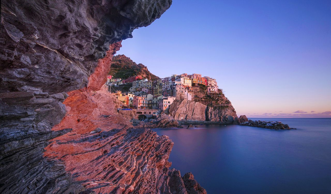 Manarola, Cinqueterre 5terre Nikonphotography NikonD800 Rock - Object Rock Formation Landscape Nature Beauty In Nature Scenics Sunset Awe Outdoors Night Travel Destinations No People Illuminated Sea Water Sky First Eyeem Photo