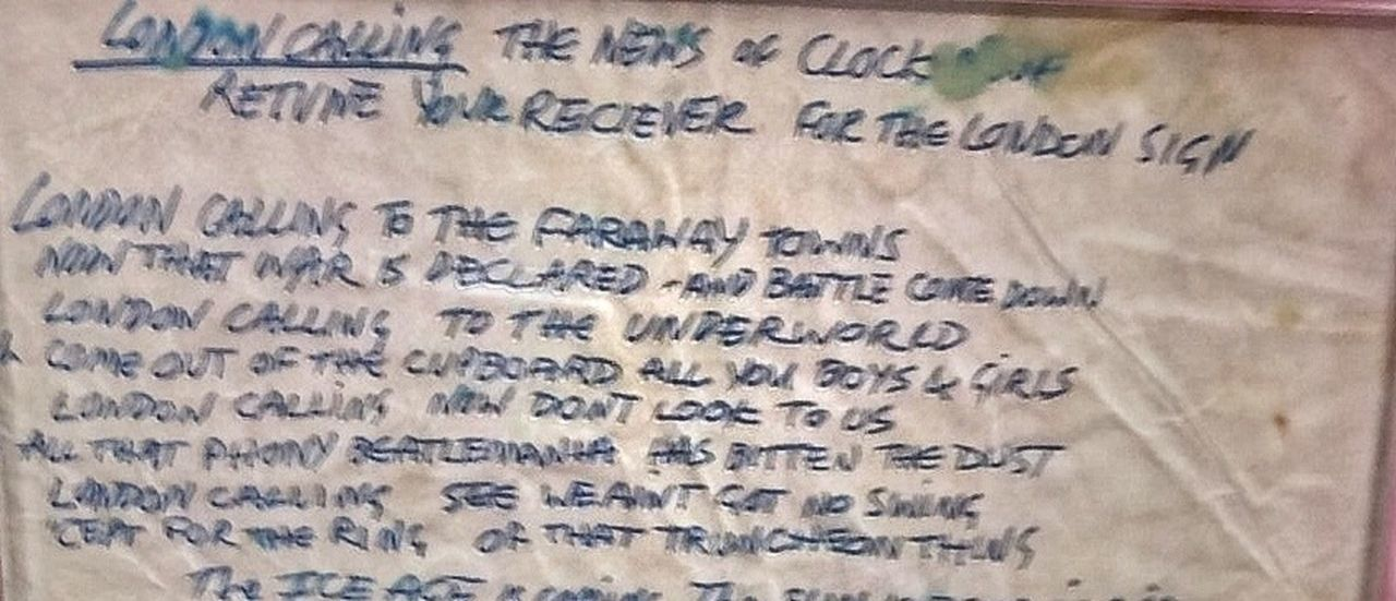 The Clash London Calling Handwritten lyrics Lyrics