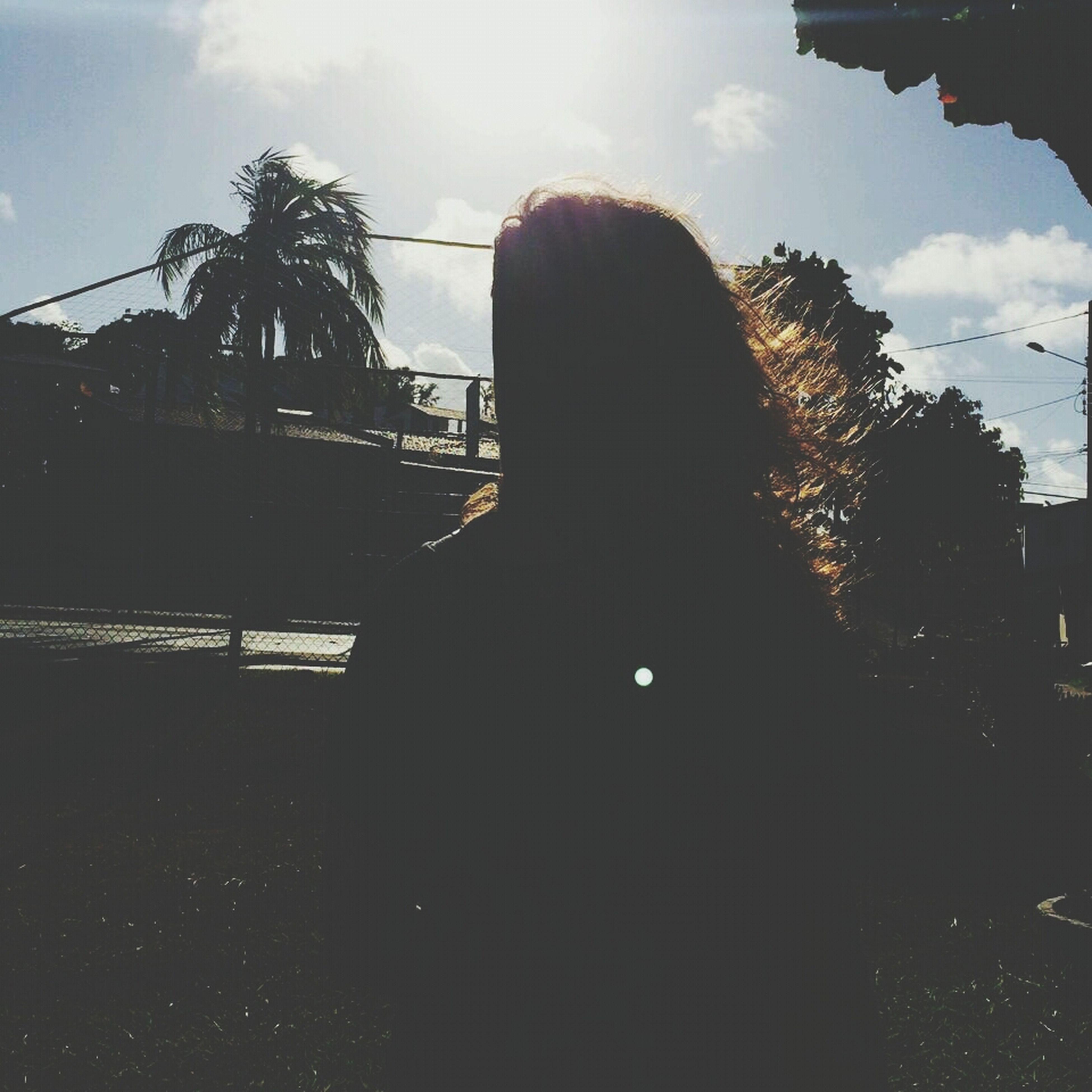 building exterior, sky, built structure, architecture, tree, silhouette, low angle view, sunlight, cloud - sky, sunset, house, cloud, building, outdoors, city, no people, sunbeam, street light, street, sun