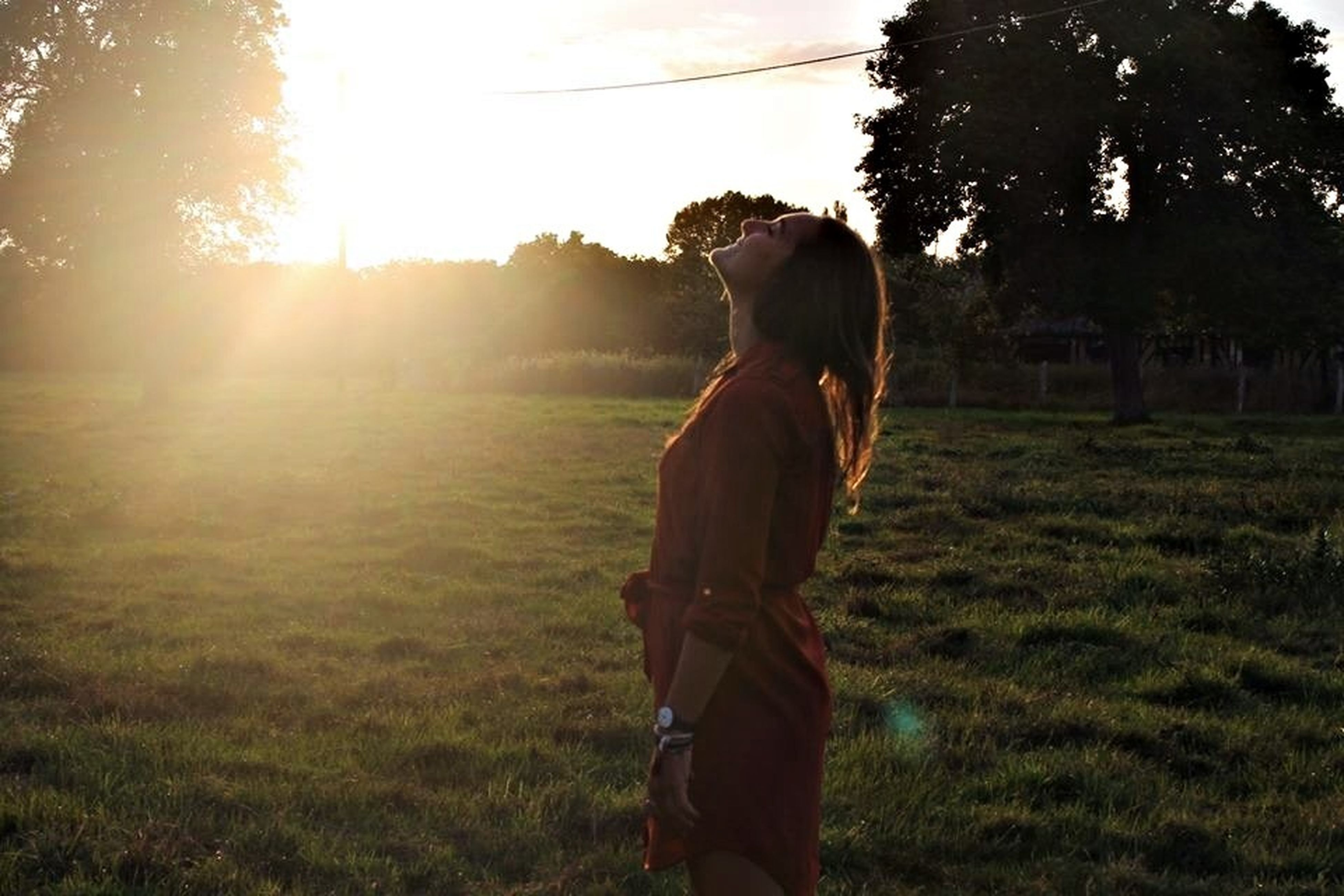 lifestyles, sun, grass, sunbeam, leisure activity, sunlight, casual clothing, tree, lens flare, field, full length, standing, young adult, rear view, three quarter length, grassy, sky, young women