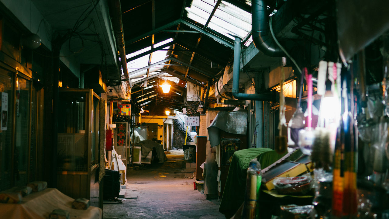 an old sinheung market in haebangchon area of seoul, south korea Antique ASIA Asian  Cinematic Day Goods Haebangchon Illuminated Indoors  Itaewon Korea Leading Lines Light Market Market Stall Marketplace No People Old Old Buildings Retail  Seoul Shop Shops Urban