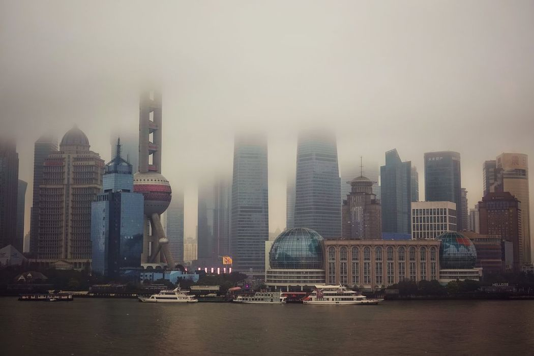China Photos Shanghai River View Fog Landscape City Life Skyscraper Water City Architecture Downtown District Building Exterior Cityscape Smog Sky Financial District  Outdoors Scenics Business Finance And Industry Cloud - Sky Office Modern No People Streamzoofamily The Great Outdoors - 2017 EyeEm Awards The Architect - 2017 EyeEm Awards