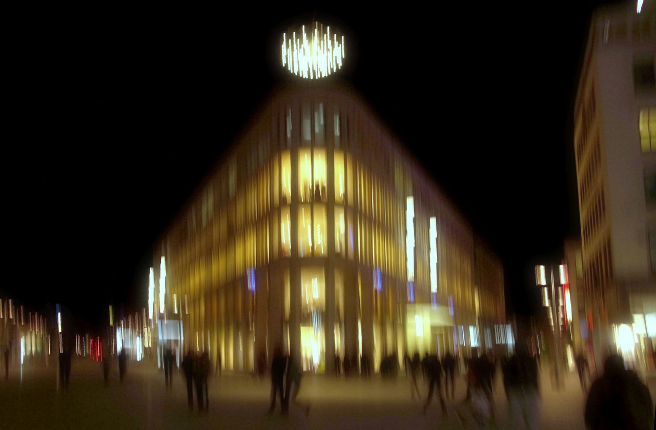 Hannover' downtown at night. Abstract Building, City, Night City Hannover, Kröpke People, Street Photography Street,