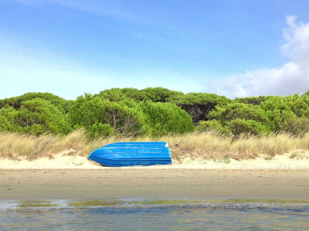 Blue Boat On Beach By Sea Against Sky