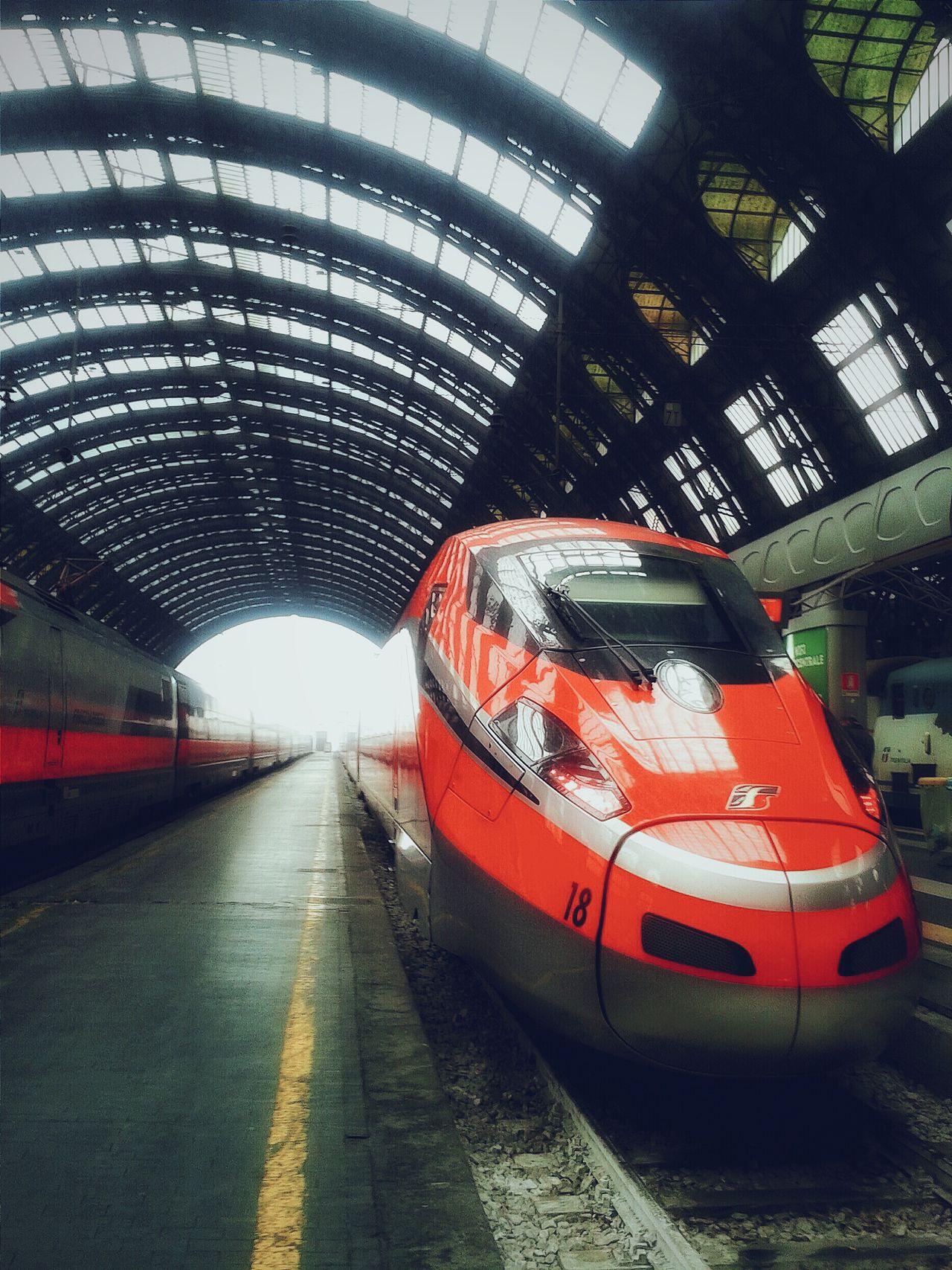 """""""Freccia Rossa 1000"""". At Stazione Centrale Milano / Train Railway Station Ferrovie Trenitalia High Speed Train Treni Frecciarossa1000 Architecture Perspective Vanishing Point Smartphone Photography with S3mini / Edited Train Porn"""