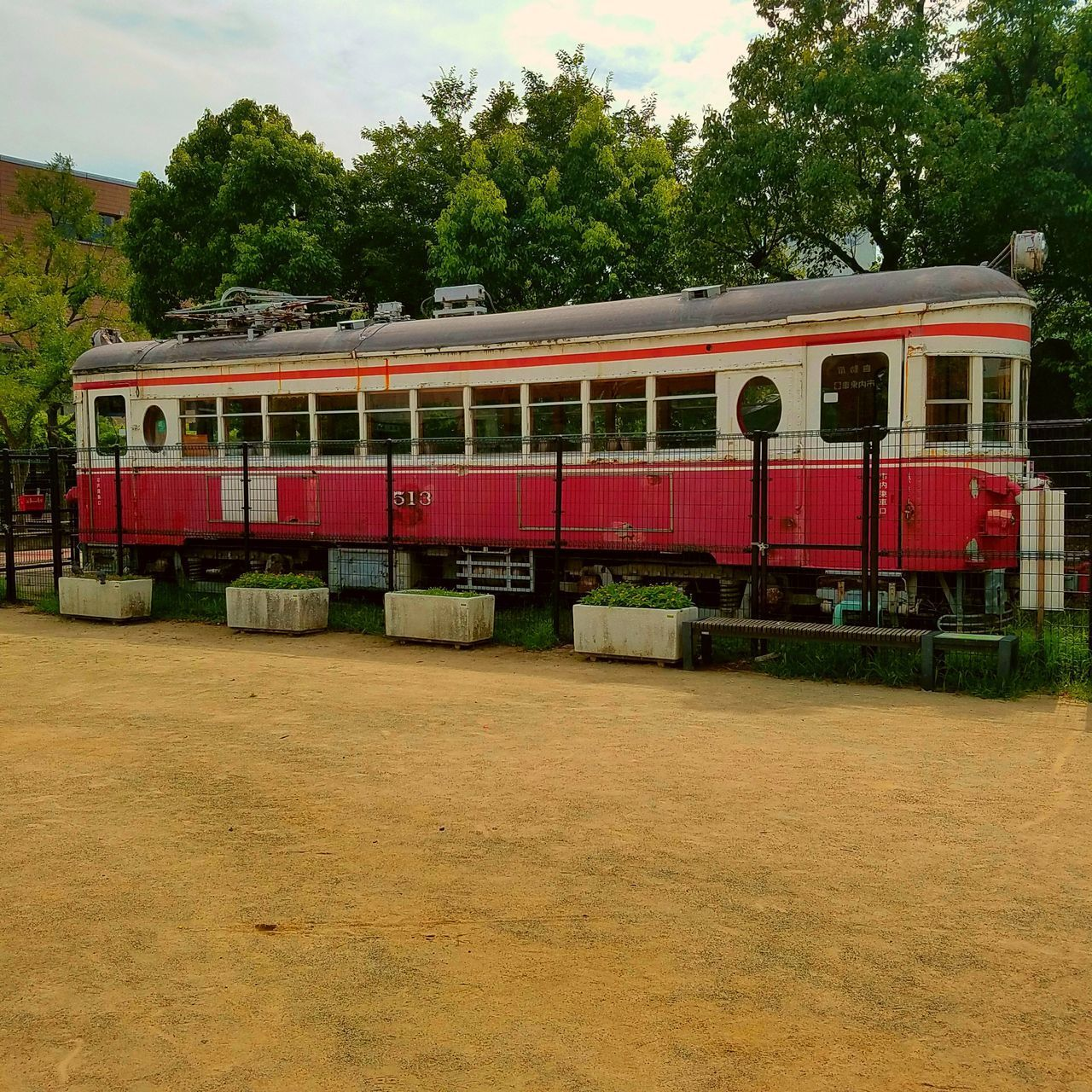 tree, transportation, public transportation, train - vehicle, red, mode of transport, rail transportation, no people, day, land vehicle, sky, growth, outdoors, nature, grass