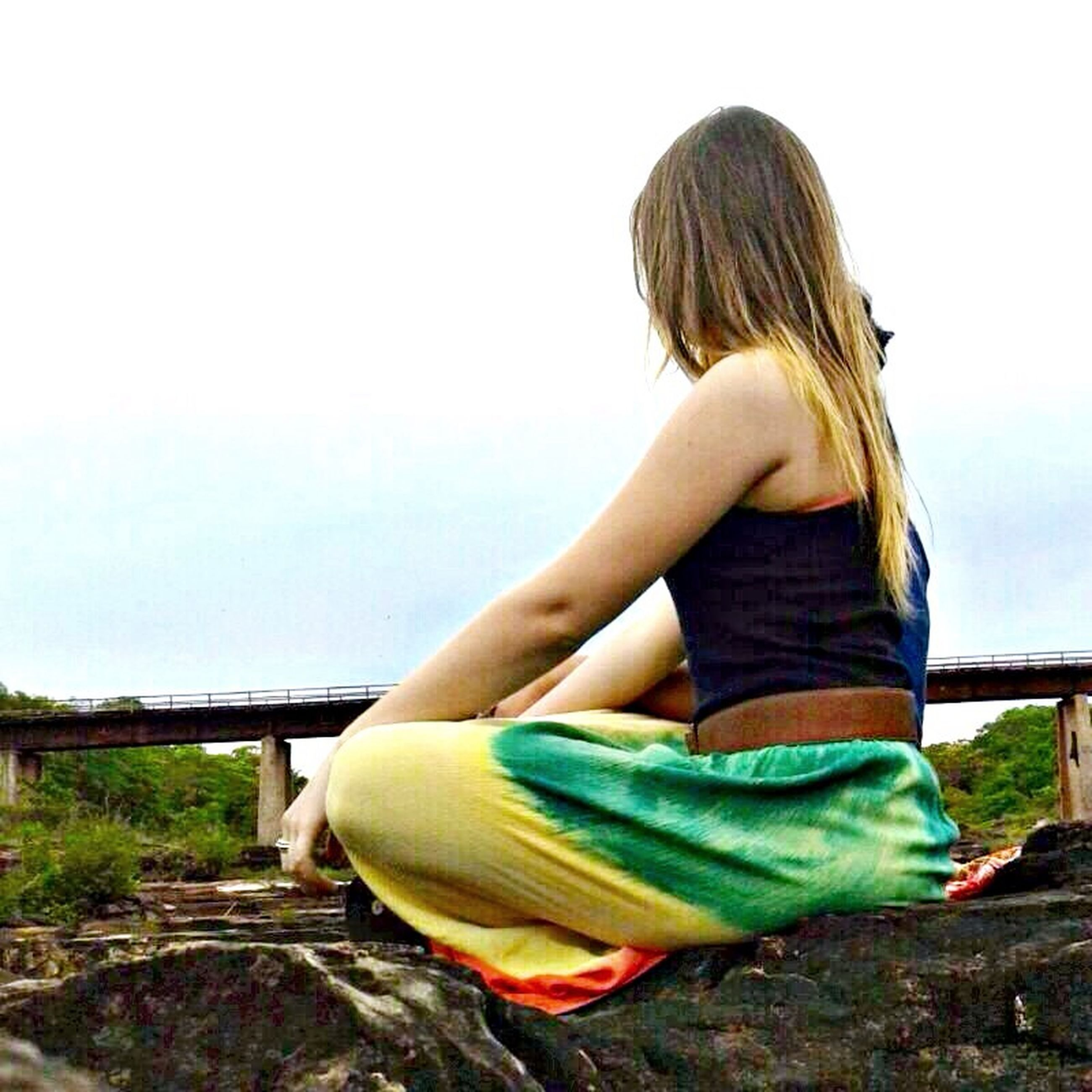 lifestyles, leisure activity, casual clothing, young adult, long hair, young women, full length, person, rear view, sitting, side view, waist up, relaxation, clear sky, blond hair, sky, three quarter length
