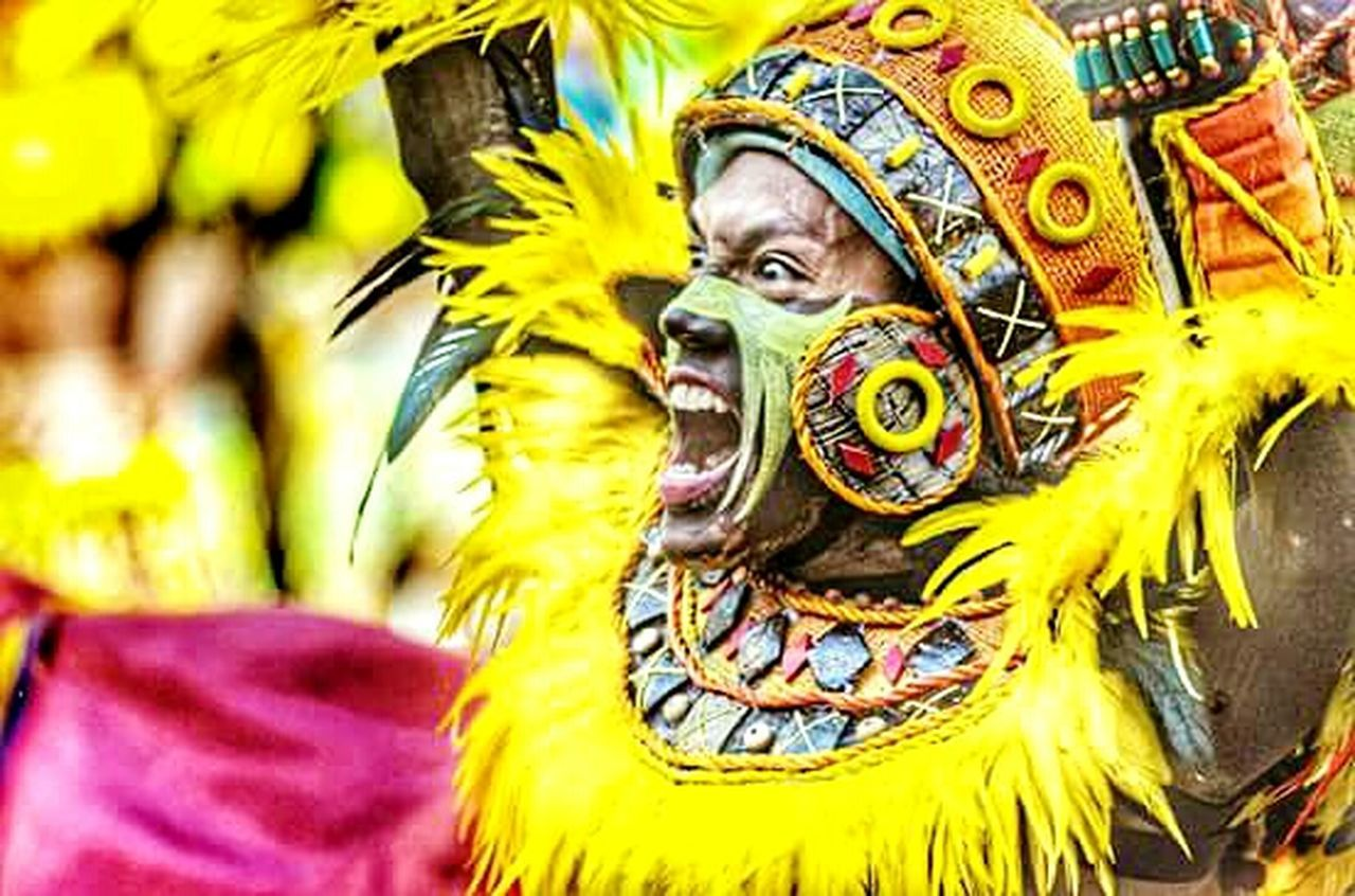 Carnival Crowds And Details Dinagyang Yellow Multi Colored Outdoors Close-up Performance Iloilo Halabira Festival Tribe First Eyeem Photo