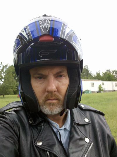 Motorcyclepeople Helmet Portrait Selfie ✌ Leather Jacket Lawn Mobile Home Green Black Color Sky Beard Grey White Beard South Carolina USA