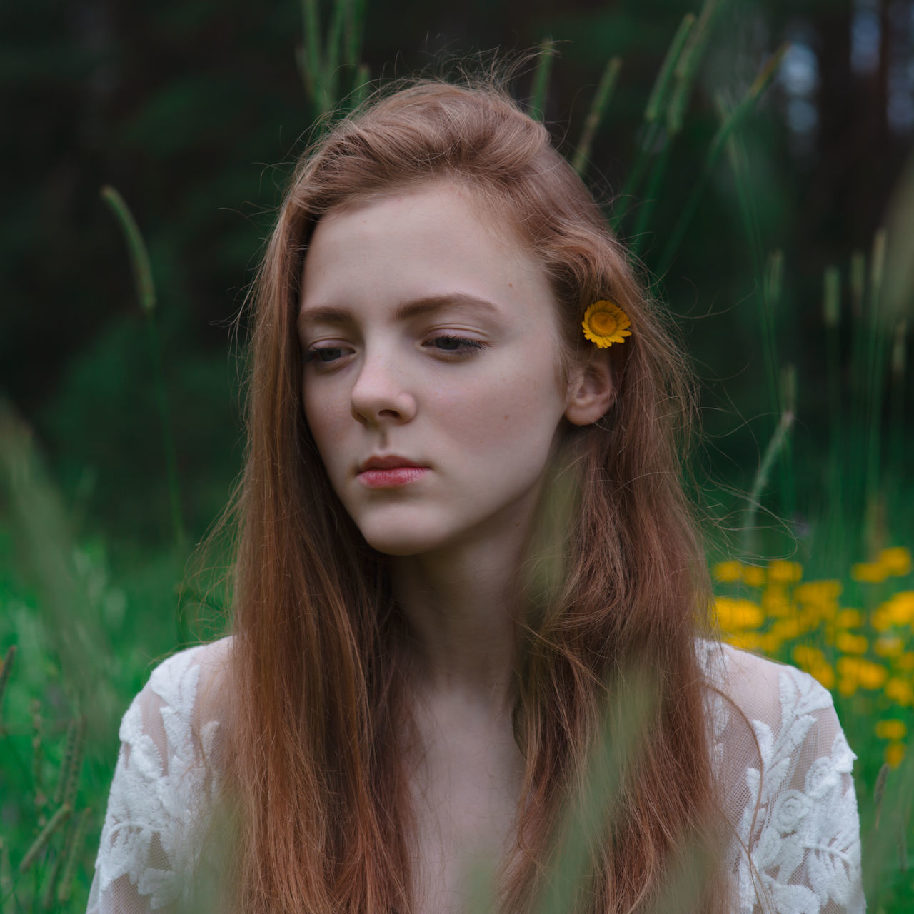 https://www.instagram.com/eglelaurinavice/ Beautiful Woman Close-up Day Face Field Flower Flowers Focus On Foreground Forest Front View Green Long Hair Nature One Person Outdoors Portrait Real People Standing Yellow Young Adult Young Women