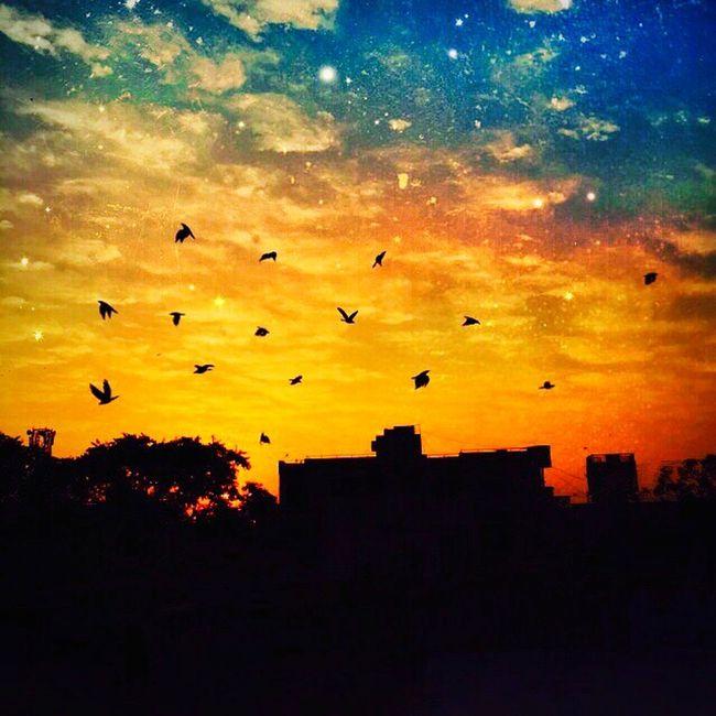 Magical sky :) Beautiful Day Sky EyeEm Best Shots - Sunsets + Sunrise Sunset #sun #clouds #skylovers #sky #nature #beautifulinnature #naturalbeauty #photography #landscape