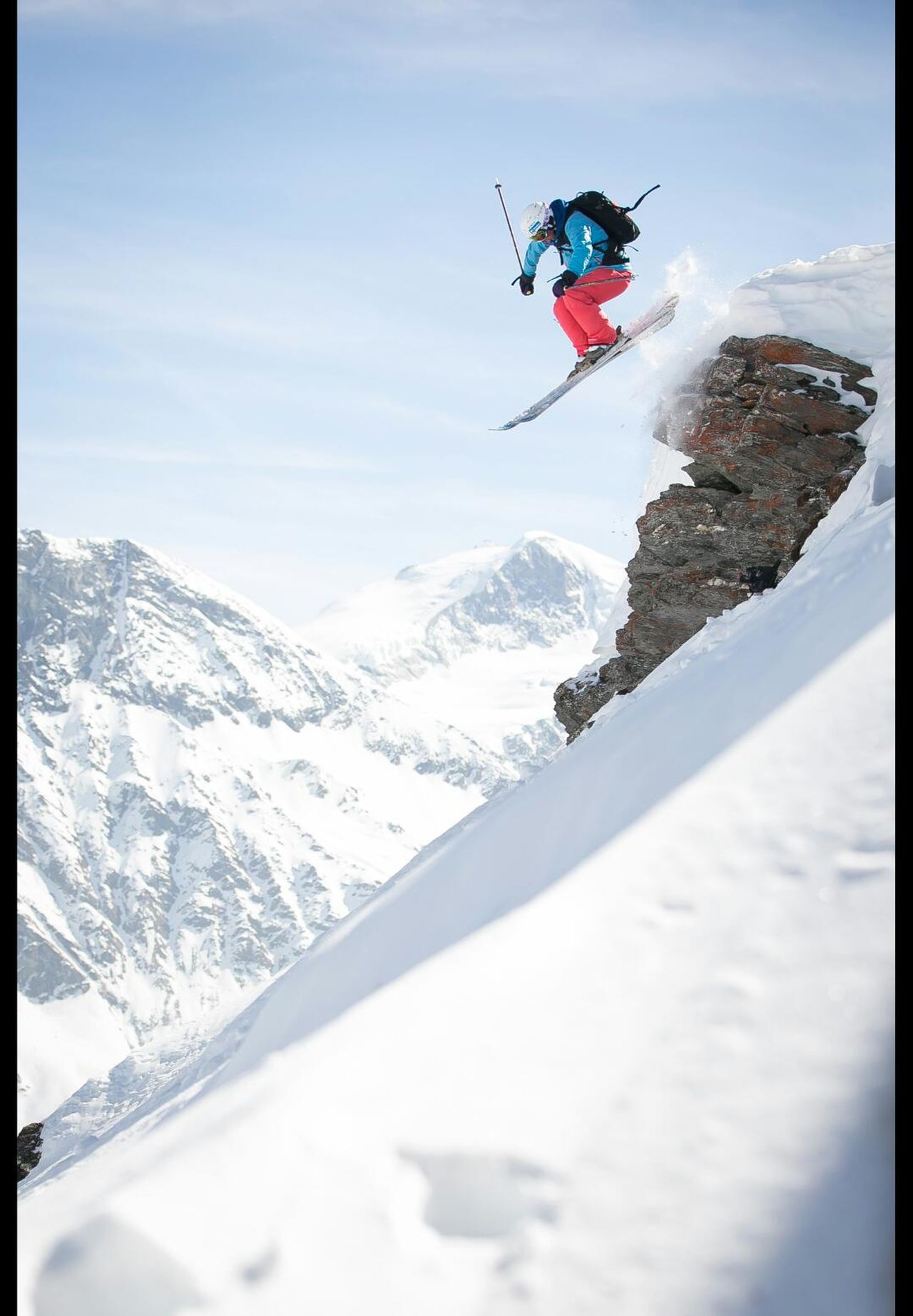 go big or go home Winter Snow Mountain Cliff Drop Action Sports Nature Backcountryskiing Powderdays