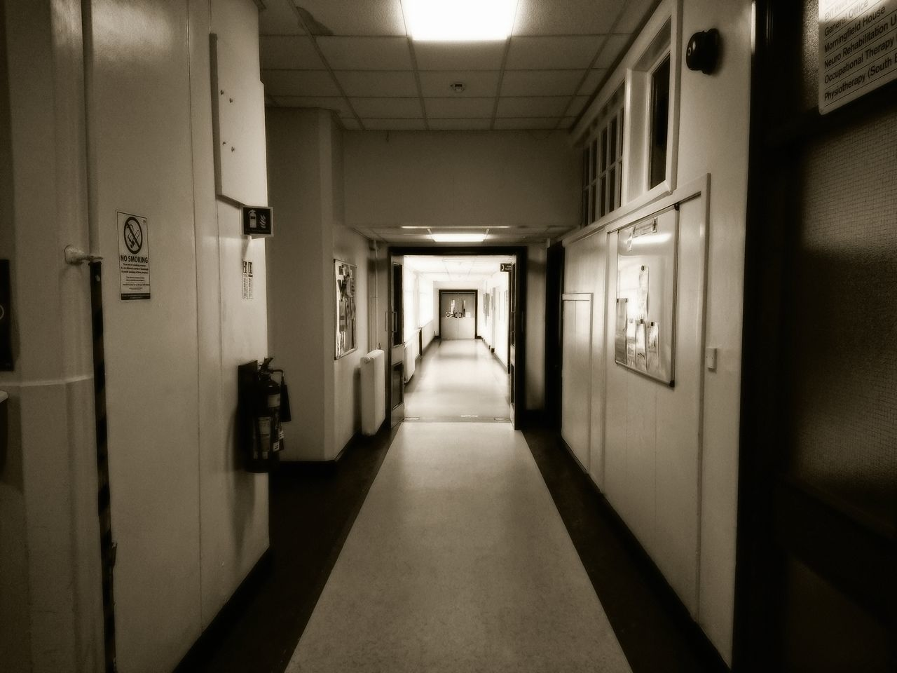Hospital corridor B/W edit Uk Scotland Eye Em Scotland Hospital Hospital Building Indoors  Architecture_collection Old Building  Building Interior Indoor Photography Inside Photography Open Door Corridor Healthcare And Medicine The Way Forward B/W Photography B/w Edit Interior Oper Doorway No People Black And White Edits Hospital Corridor Buildings Architecture Buildings