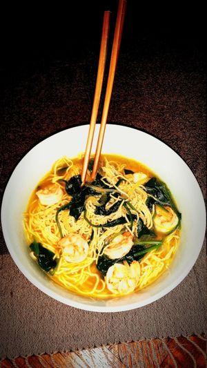 Food Shrimp Spinach Noodles Soup