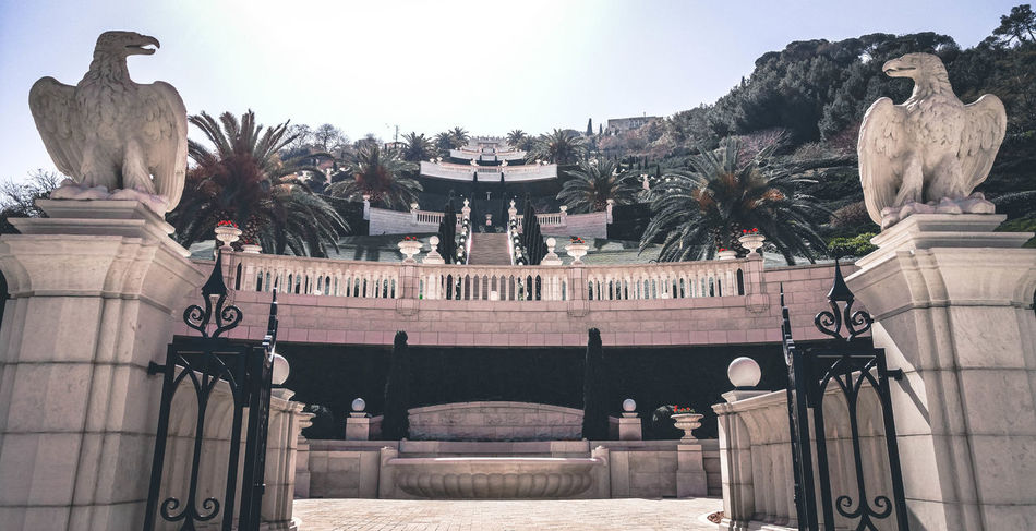 Politics And Government Government Built Structure Politics Statue Architecture People Outdoors Day Low Angle View Telaviv The Way Forward Backgrounds City Sky Architecture Building Exterior No People Haifa Bahai Gardens