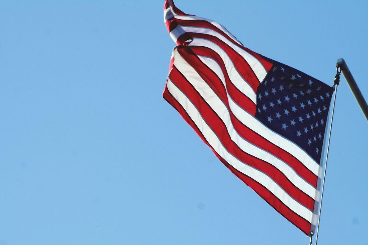 American Flag Against Clear Sky