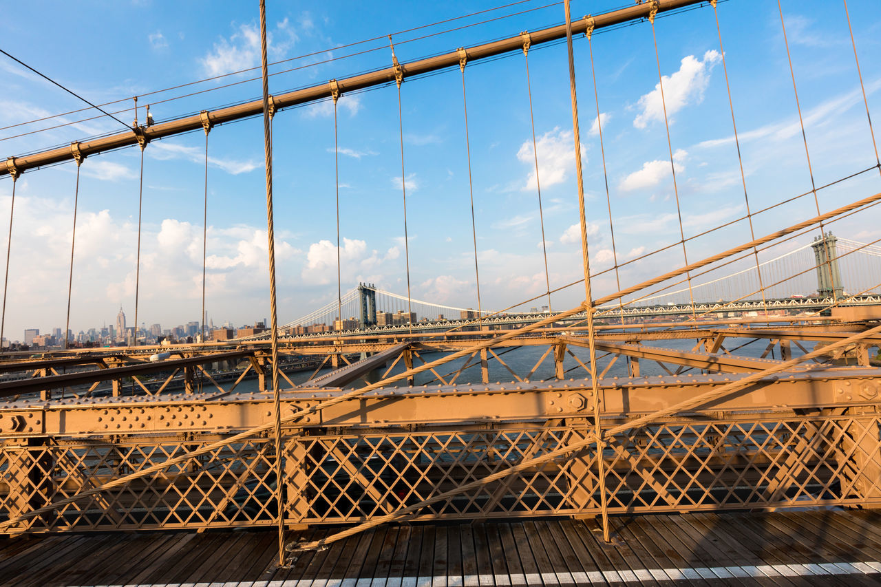 bridge - man made structure, connection, built structure, architecture, sky, transportation, city, suspension bridge, cloud - sky, no people, outdoors, day, bridge, building exterior, cityscape
