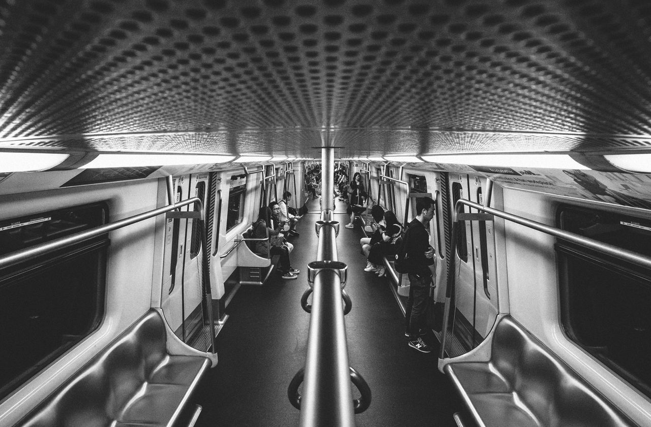 Transportation Vehicle Interior Public Transportation Train - Vehicle Mode Of Transport Travel Subway Train Rail Transportation Vehicle Seat Journey Commuter Train Blackandwhite Streetphotography Commuter Monochrome Ricoh Gr Ultrawideangle HongKong Street Photography Public Transportation Transportation Lines And Shapes Lines