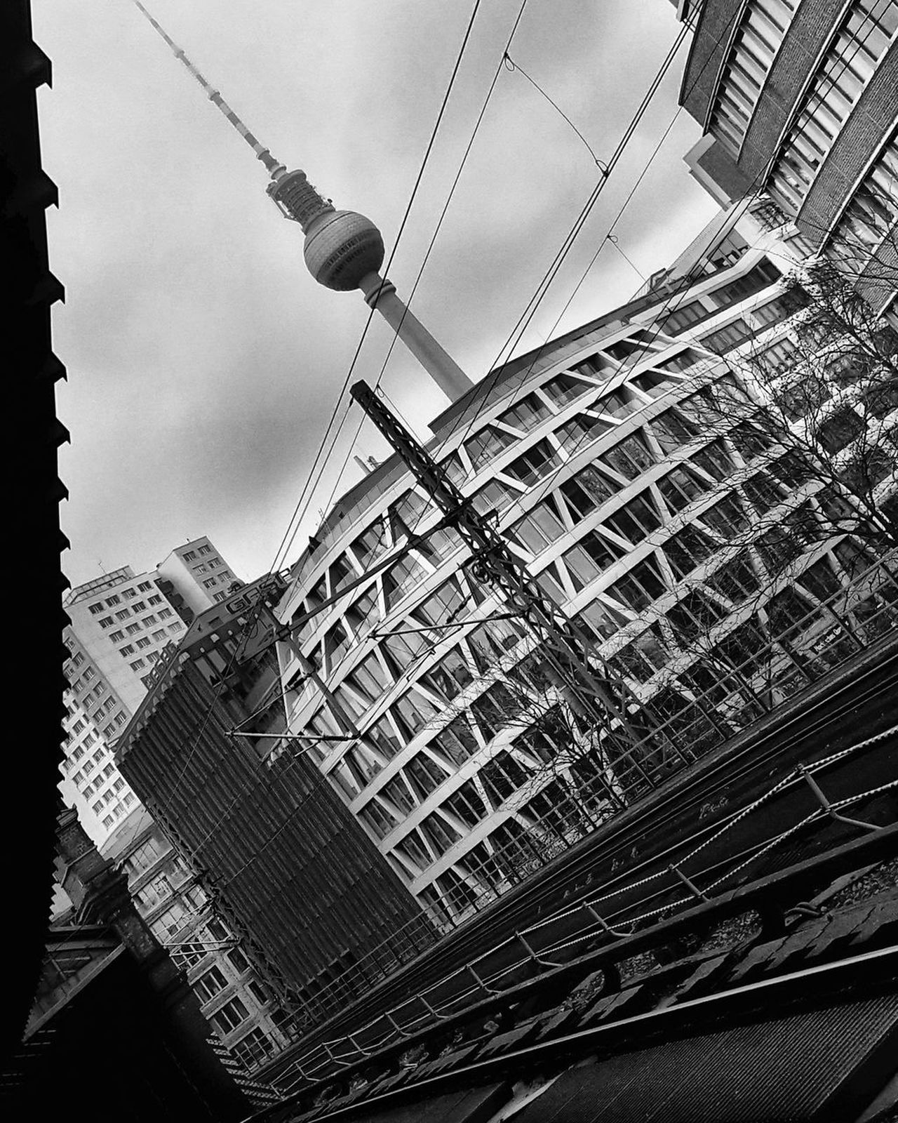 Pattern Low Angle View Sky No People Close-up Architecture Day Berliner Ansichten Berlin Photography Tvtowerberlin Mobilephotography Blackandwhite Blackandwhitephotography Geometry