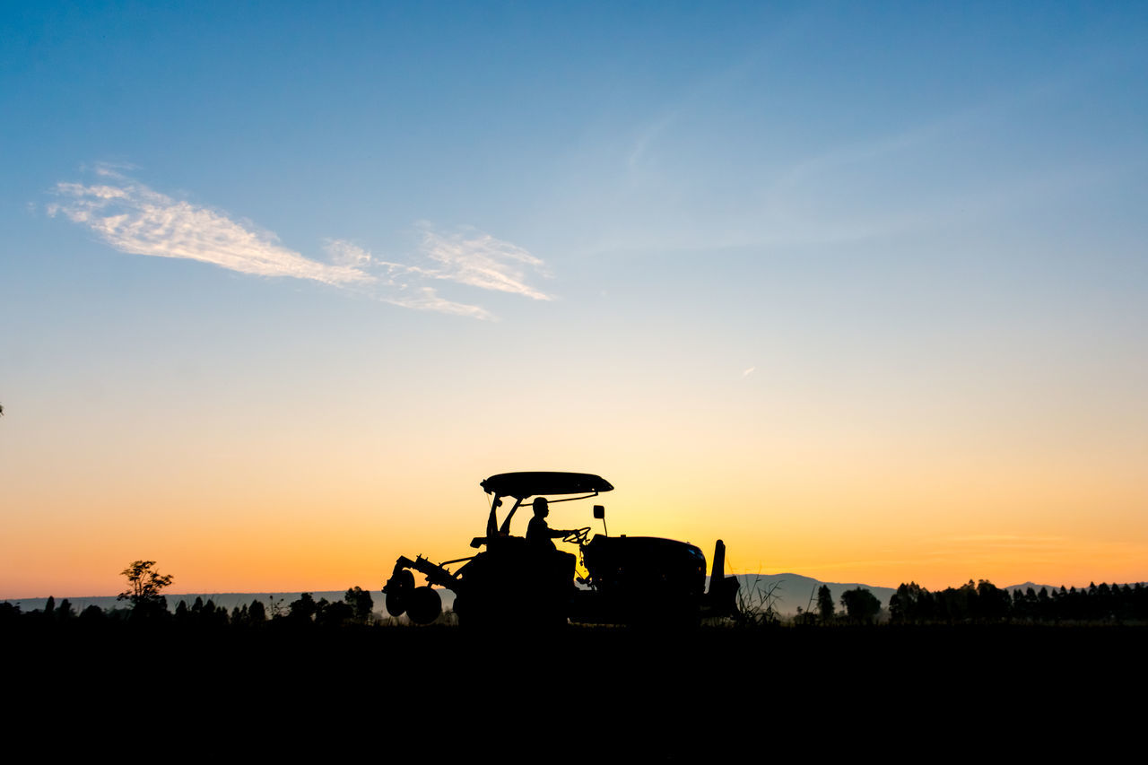 silhouette, sunset, sky, land vehicle, nature, mode of transport, transportation, beauty in nature, real people, outdoors, day