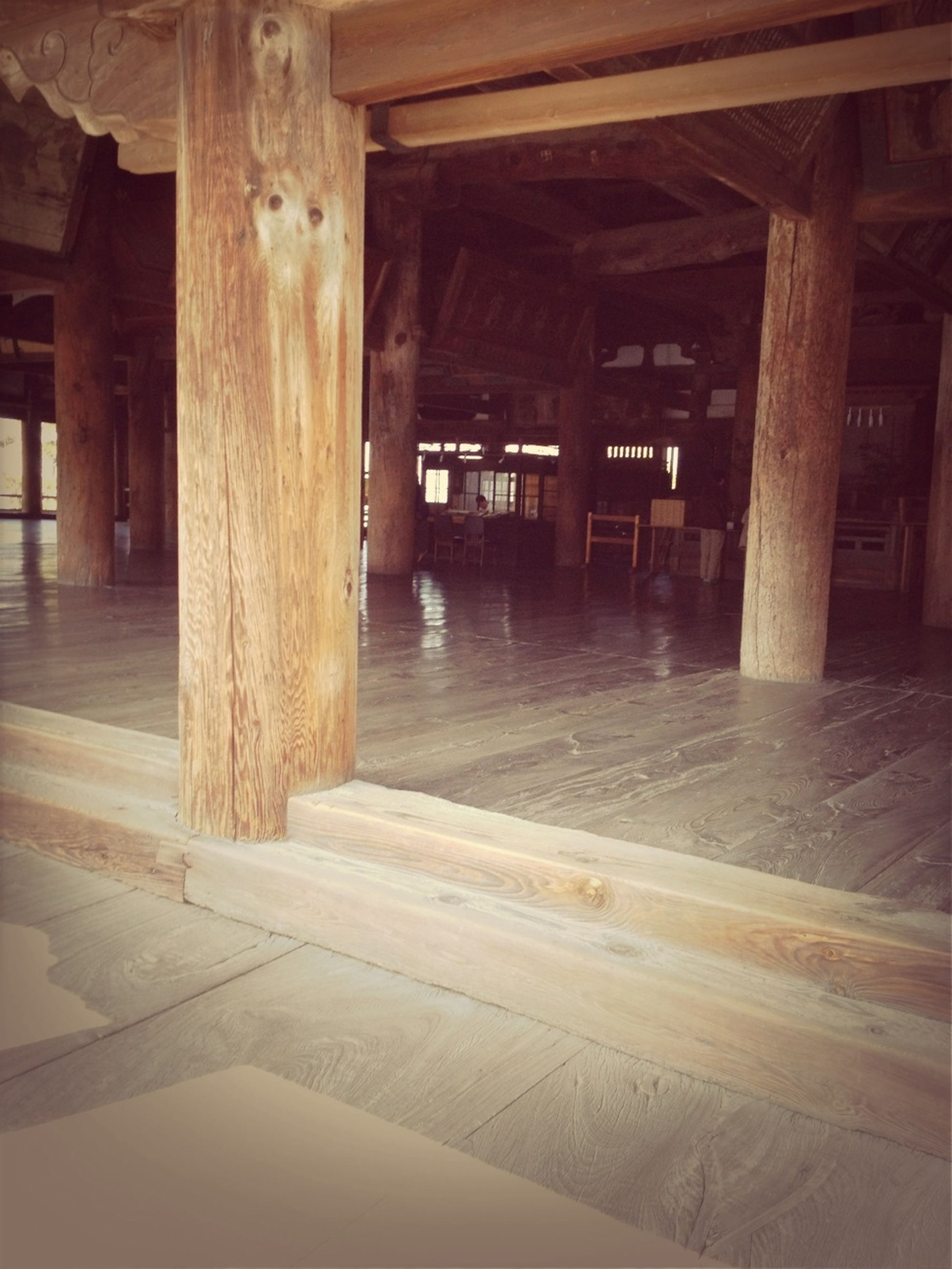 built structure, architecture, architectural column, column, building exterior, indoors, wood - material, building, sunlight, support, no people, pillar, interior, empty, flooring, door, absence, day, house, window