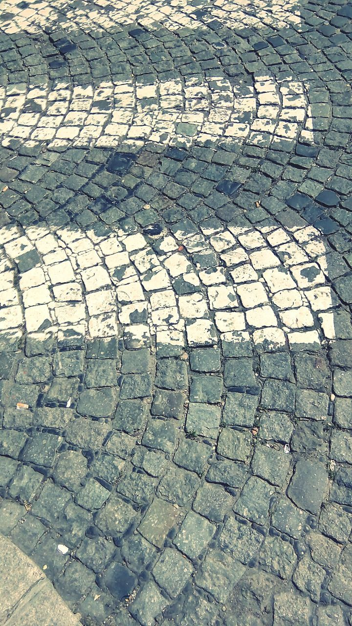 cobblestone, day, pattern, stone tile, outdoors, street, full frame, high angle view, no people